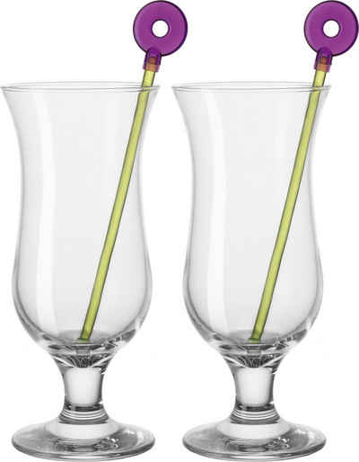 LEONARDO Cocktailglas »Hurricane«, Glas, (6 Gläser, 6 Rührer), 330 ml