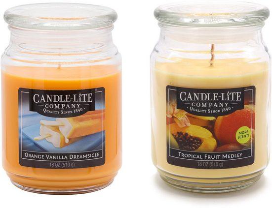 Candle-lite™ Duftkerze »Everyday - Orange Vanilla Dreamsicle & Tropical Fruit Medley« (Set, 2-tlg), Inhalt je Kerze 510 g