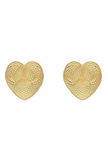 Firetti Paar Ohrstecker »Herzen, vergoldet, strukturiert, massiv«