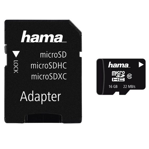 Hama microSDHC 16 GB Class 10, 22MB/s + Adapter/Mobile »microSD Memory Card«