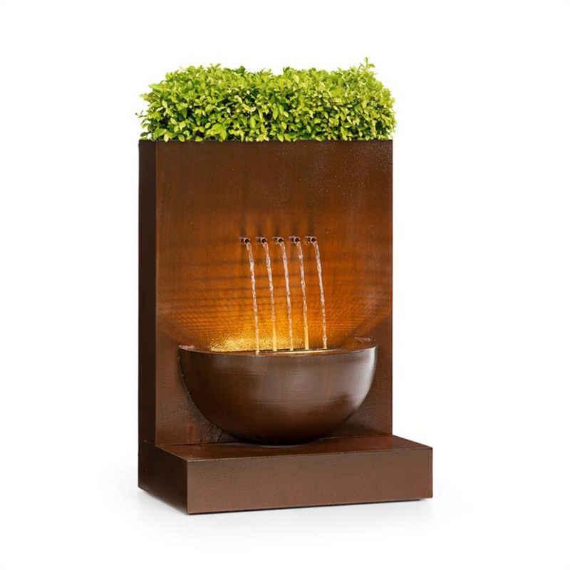 blumfeldt Wasserspiel »Windflower Gartenbrunnen Zimmerbrunnen mit Pflanzschale 11 W Indoor & Outdoor verzinktes Metall«, 50 cm Breite