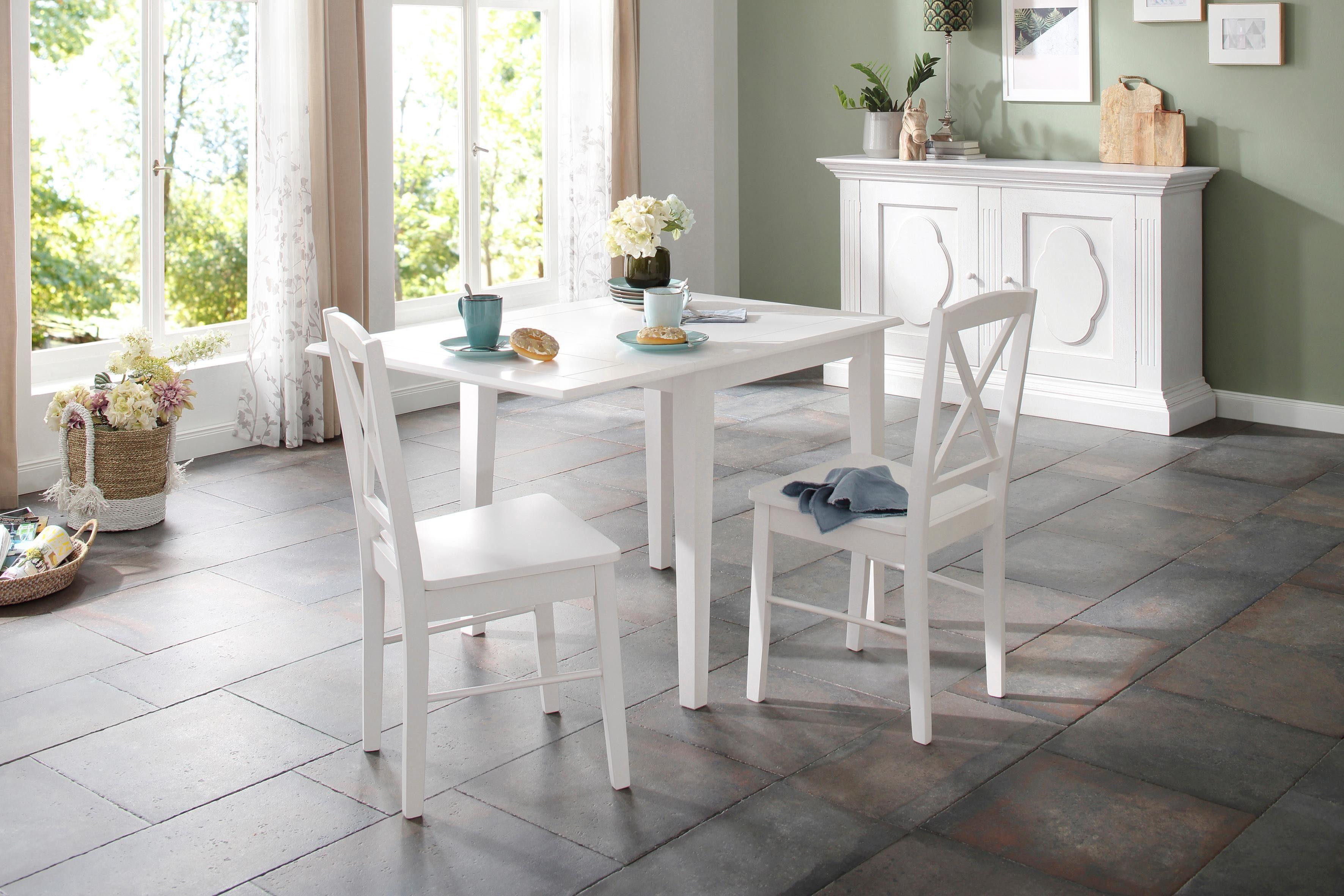Home affaire Essgruppe »Olvera«, (Set, 3 tlg), bestehend aus Fullerton Esstisch 80 cm, 2 Sonoma Esszimmerstühlen und 1 Ansteckplatte (3 tlg) online