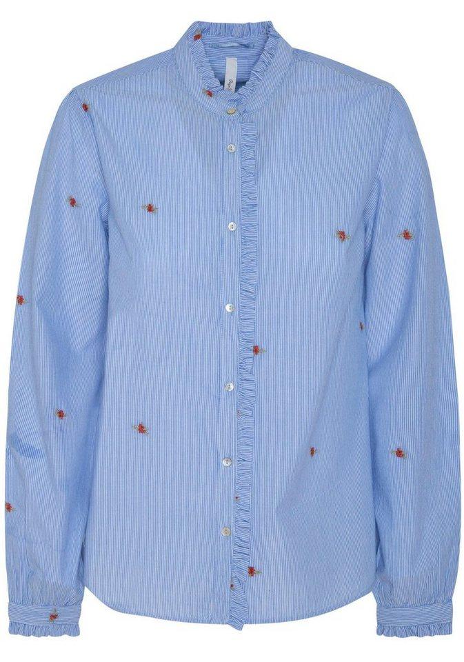 Pepe Jeans Rüschenbluse »LILY« mit Blumen bestickt und Rüschenkragen | Bekleidung > Blusen > Rüschenblusen | Blau | Jeans | Pepe Jeans