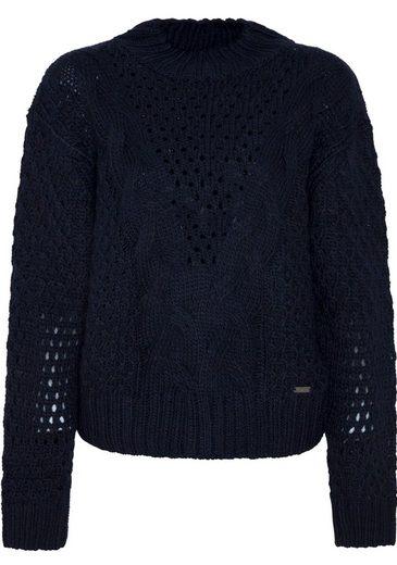 Pepe Jeans Strickpullover »HELAIA« mit Stehkragen und Rautenstruktur-Muster