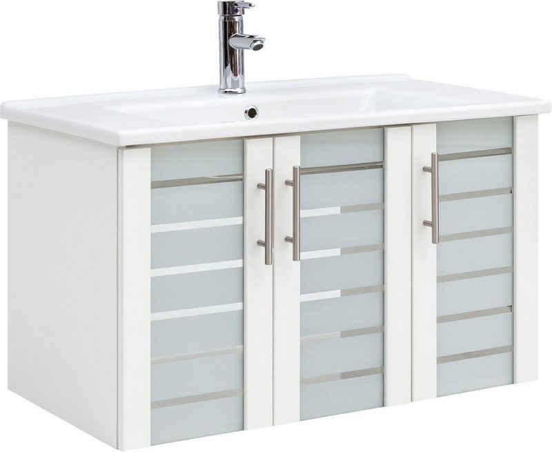 Schildmeyer Waschbeckenunterschrank »Nikosia« Breite 85 cm, mit Keramikwaschbecken, 3 Glastüren, Metallgriffe