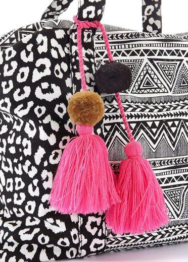 LASCANA Umhängetasche  XL mit Leoprint und Tasseln