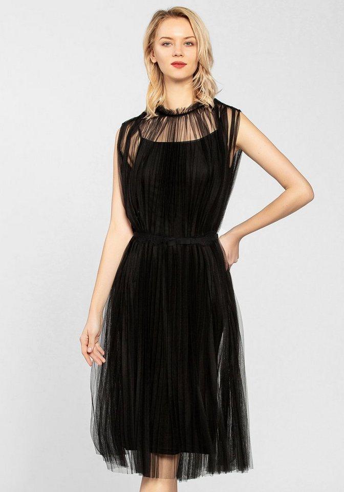 Apart plissee kleid schwarz