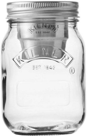 KILNER Vorratsglas »Snack on the Go«, Glas, Edelstahl, (Set, 3-tlg., 1 x Vorratsglas, 1 x Becher, 1 x Konservendeckel), Inhalt 0,5 Liter