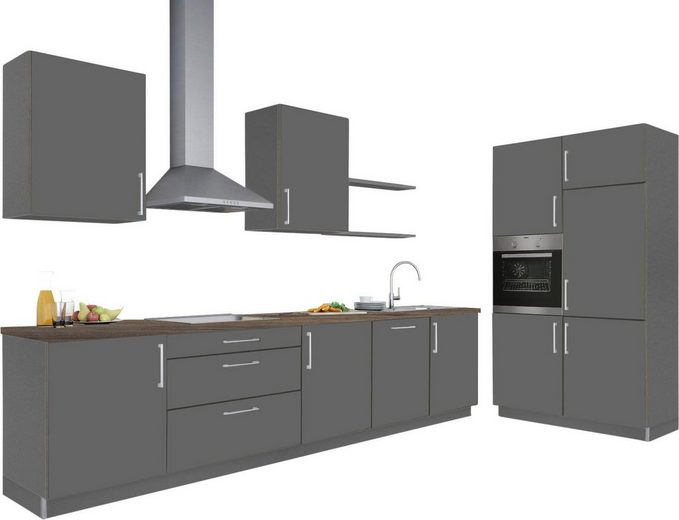 S+ by Störmer Küchenzeile »Marl« ohne E-Geräte, Arbeitsplatte nach Wahl, Breite 331 cm + 120 cm, vormontiert