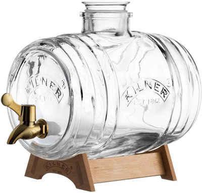 KILNER Getränkespender, Inhalt 3,5 Liter, heller Holzständer