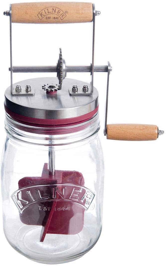 KILNER Vorratsglas, Glas, Edelstahl, Holz, (1-tlg., 1 x Butterfass inkl. Deckel mit Holz-Griff und Silikon-Rührbesen, 1 Rezeptheft), Butterfass, 1 Liter