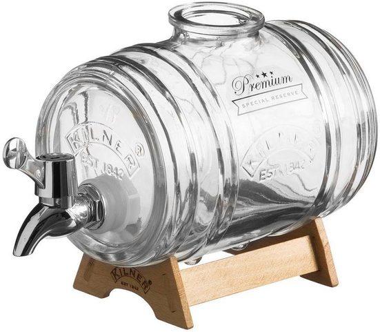 KILNER Getränkespender, Inhalt 1 Liter, heller Holzständer