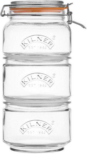 KILNER Vorratsglas, Glas, Edelstahl, (Set, 3 tlg., 2 x 0,88Liter, 1 x 0,9 Liter)