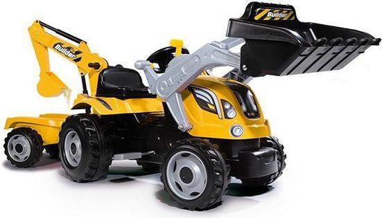 Smoby Trettraktor »Builder Max, gelb«, mit Heckbagger, Frontlader und Anhänger