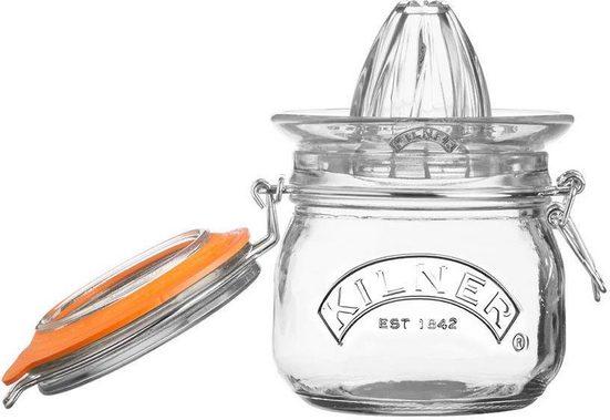 KILNER Zitruspresse, Glas, Silikon, (inkl. Glas zum Aufbewahren), Inhalt 0,5 Liter