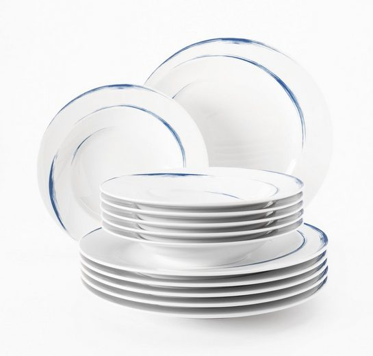 Seltmann Weiden Tafelservice »Paso« (12-tlg), Porzellan, blauer Pinselstrich