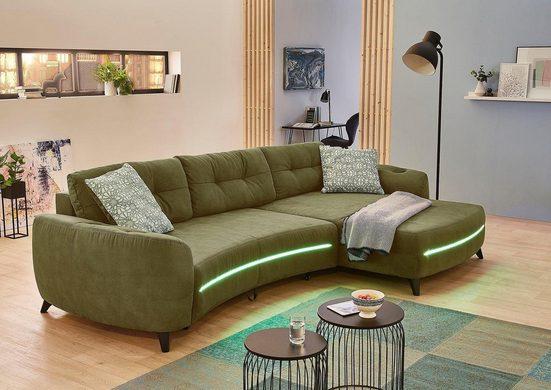 Jockenhöfer Gruppe Ecksofa, Polsterecke mit Bettfunktion und Bettkasten, RGB-LED-Beleuchtung und Soundsystem