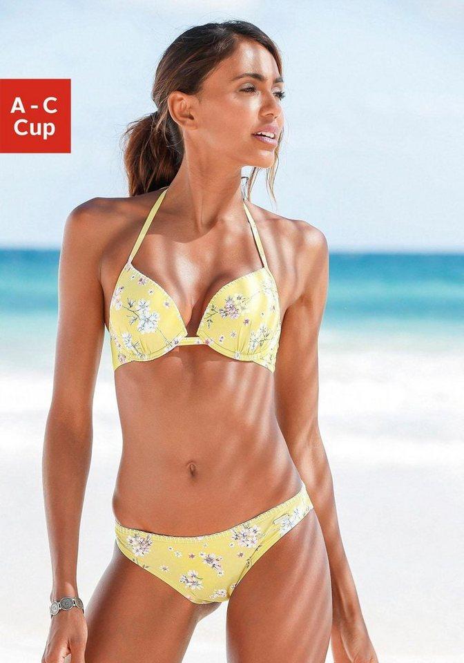 Bademode - Sunseeker Push Up Bikini Top »Ditsy«, mit Häkelkante › gelb  - Onlineshop OTTO