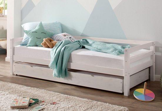 Lüttenhütt Daybett »Alpi«, mit Schubkasten aus massivem Kiefernholz, in drei unterschiedlichen Farbvarianten, Außenbreite 103 cm, Kinderbett, Einzelbett