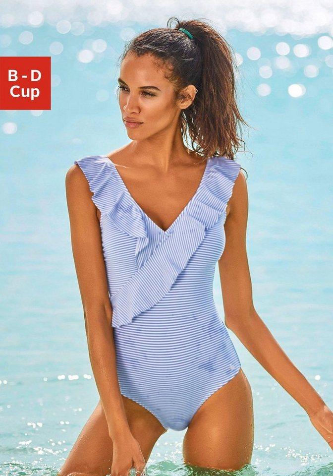 weit verbreitet klassischer Chic neueste art LASCANA Badeanzug, in Off-shoulder-Form und mit Volants online kaufen | OTTO
