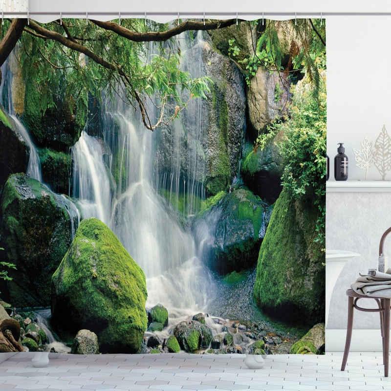 Abakuhaus Duschvorhang »Moderner Digitaldruck mit 12 Haken auf Stoff Wasser Resistent« Breite 175 cm, Höhe 180 cm, Nature Scene Wasserfall fließt Rock