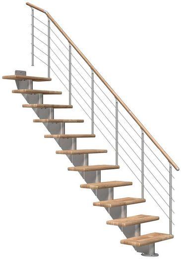DOLLE Mittelholmtreppe »Hamburg Eiche 85«, bis 301 cm, Edelstahlgeländer, versch. Ausführungen
