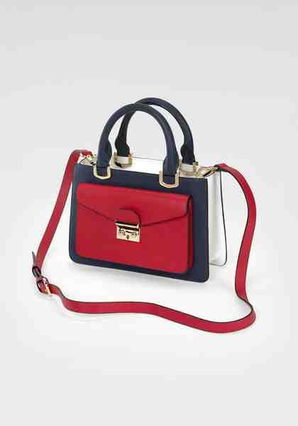 GUIDO MARIA KRETSCHMER Handtasche, aus hochwertigem Leder und edlem goldfarbenen Dekor