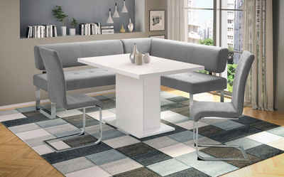 INOSIGN Eckbankgruppe »Aran«, (Set, 4-tlg), Tisch, Breite 136 cm, Eckbank langer Schenkel 215 cm, wahlweise rechts oder links und 2 Freischwinger, Bezug aus Microfaser
