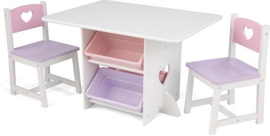 KidKraft® Kindersitzgruppe »Tisch mit Aufbewahrungsboxen und 2 Stühlen Herzchen«, (3-tlg)