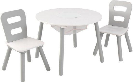 KidKraft® Kindersitzgruppe »Tisch mit Netzkörbchen und 2 Stühlen«, (3-tlg)