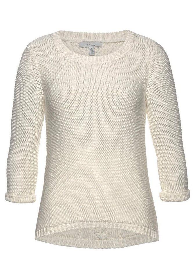 Mavi 3/4 Arm-Pullover mit Zopfmuster am Rücken | Bekleidung > Pullover > 3/4 Arm-Pullover | Weiß | Mavi
