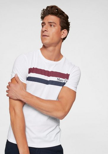 Marc O'Polo T-Shirt Streifendesign mit Markenschriftzug