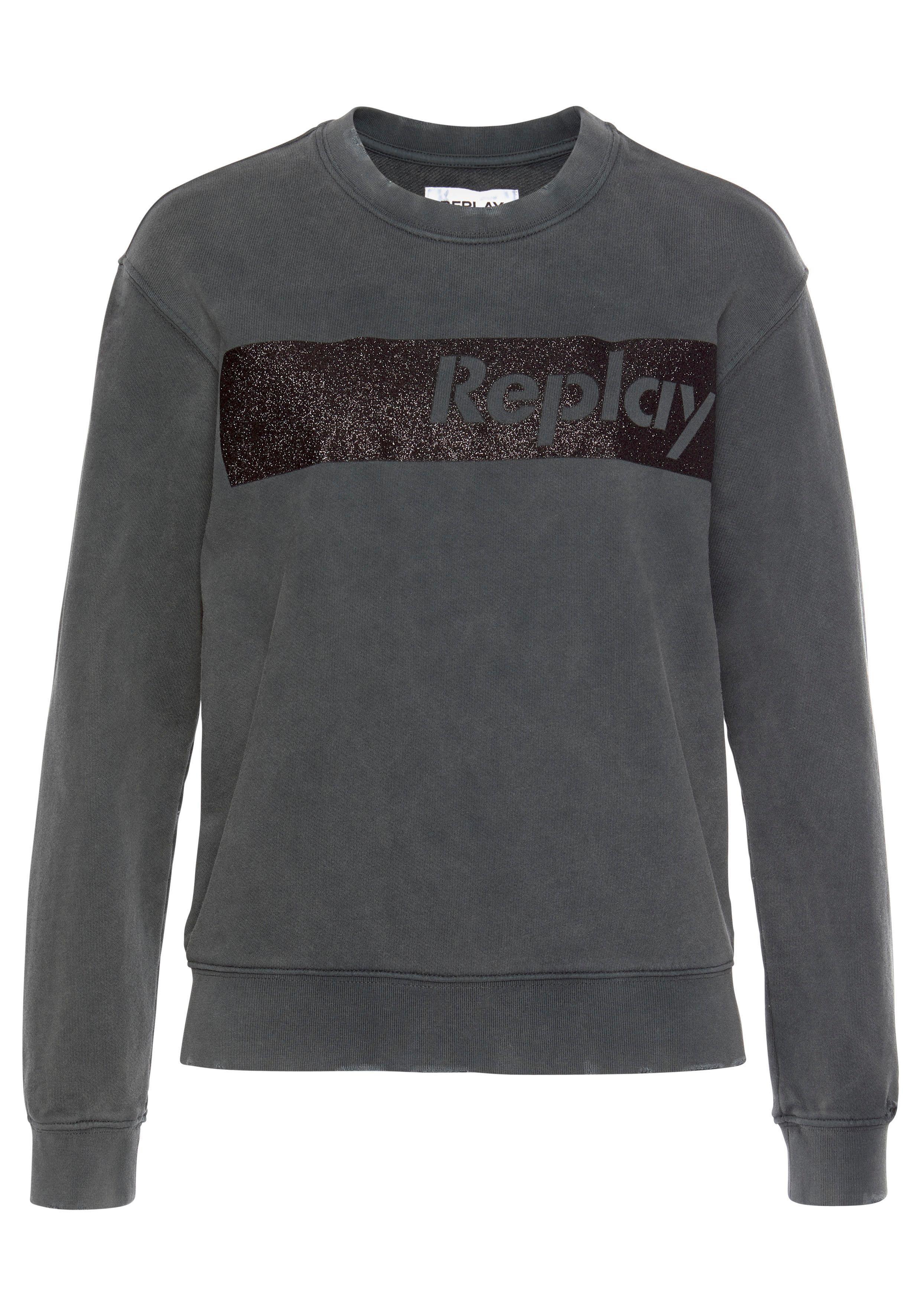 Replay Sweatshirt Mit Glitzerndem Blockprint