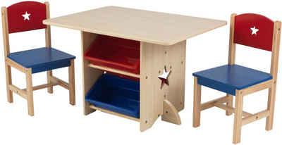 KidKraft® Kindersitzgruppe »Tisch mit Aufbewahrungsboxen und 2 Stühlen, Sternchen«, (3-tlg)