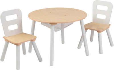 KidKraft® Kindersitzgruppe »Runder Aufbewahrungstisch«, (3-tlg)