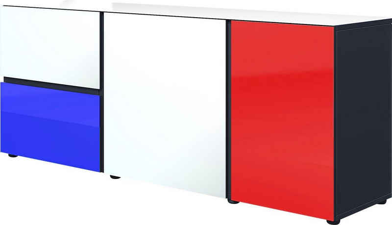 GERMANIA Lowboard »Ideeus«, Breite 164 cm, Fronten und Oberboden mit Glasauflagen in verschiedenen Farben