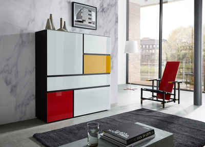 GERMANIA Highboard »Ideeus«, Breite 120 cm, Fronten und Oberboden mit Glasauflagen in verschiedenen Farben