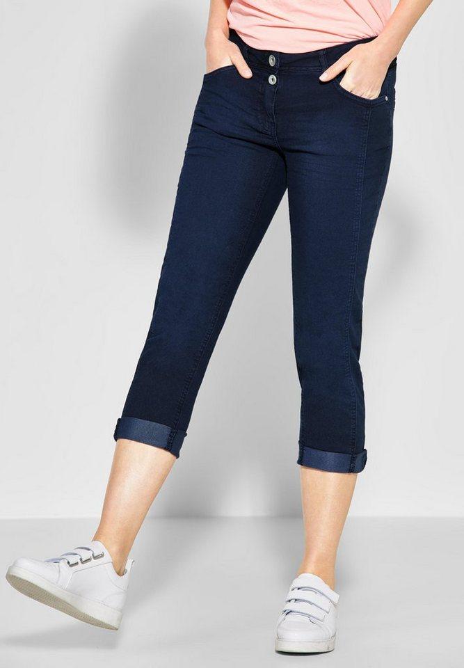 Cecil 5-Pocket-Hose mit Doppelknopf am Bund | Bekleidung > Hosen > 5-Pocket-Hosen | Blau | Elasthan | Cecil