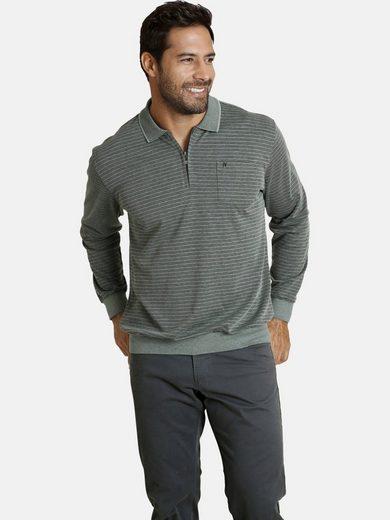 Jan Vanderstorm Langarm-Poloshirt »ELBERG« mit bequemen Bauchschnitt