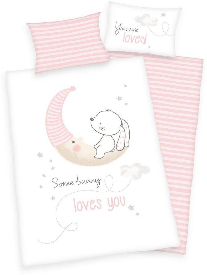 Babybettwäsche »Baby Best ´´Little Bunny´´«, Baby Best, mit Mond und Hase | Kinderzimmer > Textilien für Kinder > Kinderbettwäsche | Weiß | Baby Best
