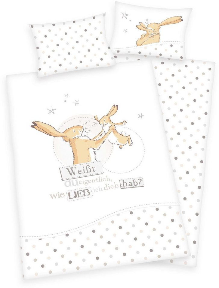 Babybettwäsche »´´Weißt du eigentlich wie lieb ich dich hab?´´«, mit Punkten und Hasen | Kinderzimmer > Textilien für Kinder > Kinderbettwäsche | Weiß | OTTO