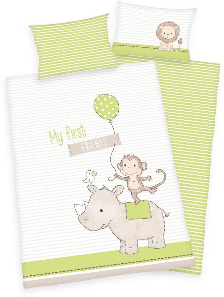 Babybettwäsche »Baby Best ´´My first friends´´«, Baby Best, mit Affe und Nashorn | Kinderzimmer > Textilien für Kinder > Kinderbettwäsche | Weiß | Baby Best