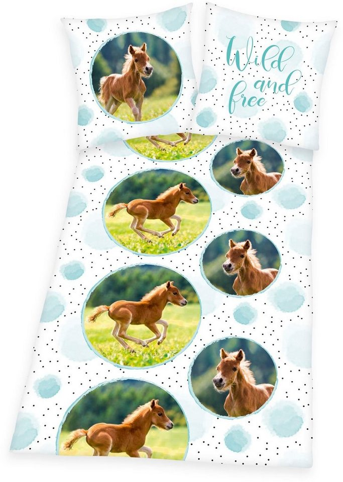Kinderbettwäsche »Young Collection Pferde«, Herding Young Collection, Öko Tex geprüfte Qualität | Kinderzimmer > Textilien für Kinder > Kinderbettwäsche | Weiß | Herding Young Collection