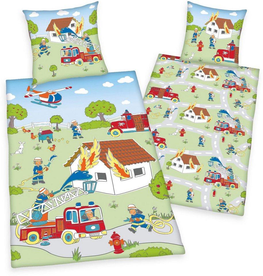 Kinderbettwäsche »Young Collection ´´Feuerwehr´´«, Herding Young Collection, mit Einsatzmotiven | Kinderzimmer > Textilien für Kinder > Kinderbettwäsche | Grün | Herding Young Collection