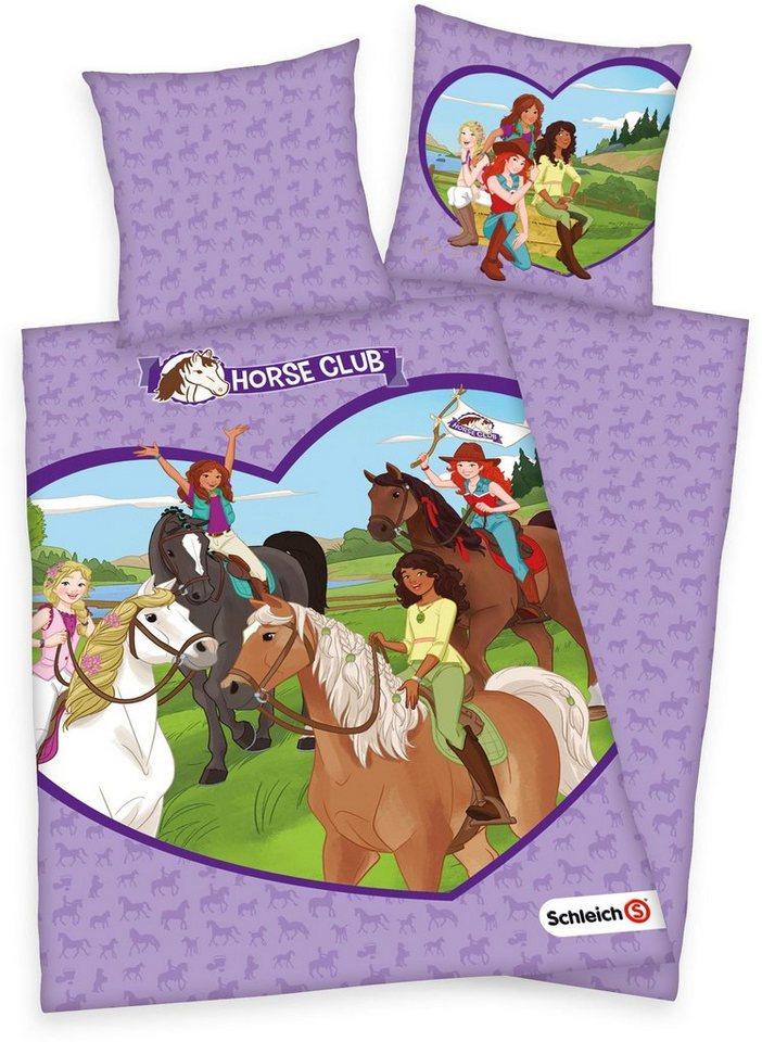 Kinderbettwäsche »Schleich ´´Horse Club´´«, Schleich®, mit Pferd und Reiter   Kinderzimmer > Textilien für Kinder > Kinderbettwäsche   Lila   Schleich®