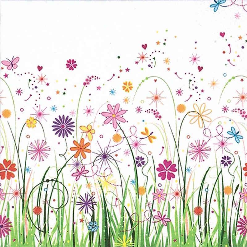 Linoows Papierserviette »20 Servietten Sommer, Blumenwiese, naives Blumenaq«, Motiv Sommer, Blumenwiese, naives Blumenaquarell