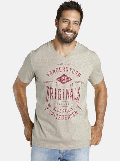 Jan Vanderstorm V-Shirt »MALMFINN« Brustdruck in Kontrastfarben
