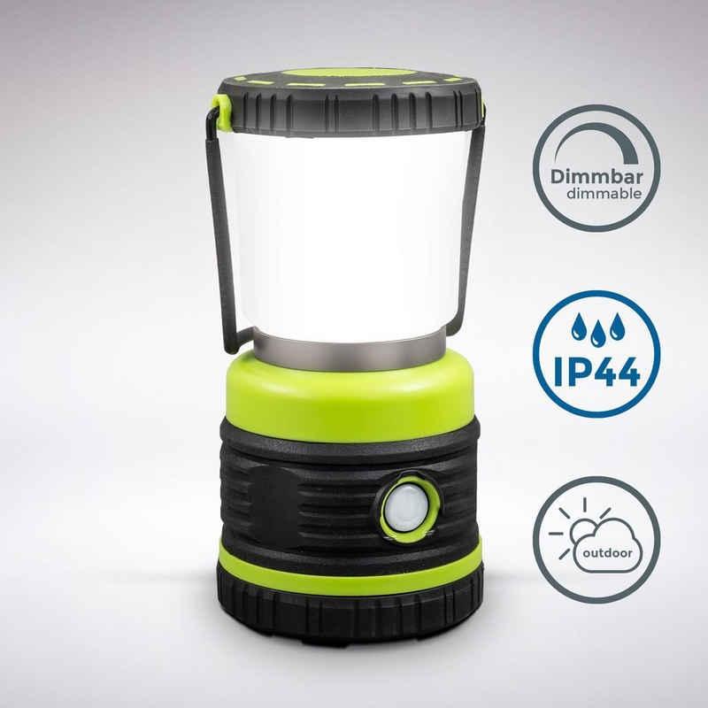 B.K.Licht Tischleuchte, LED Campinglampe, extrem hell, bis 1000 Lumen, 3 Helligkeitsstufen, 4 Leuchtmodi, dynamisch dimmbar, Batteriebetrieben, Tragegriff