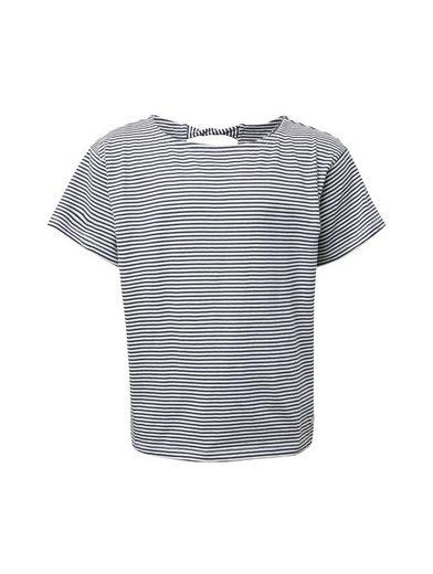 TOM TAILOR Kurzarmshirt »Gestreiftes T-Shirt mit Schlüsselloch-Öffnung«