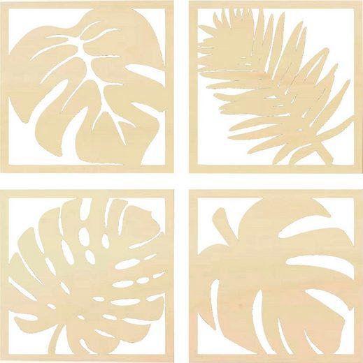 Wall-Art Wanddekoobjekt »Pappel - Blätter Tropical Set« (Set, 4 Stück), Wanddeko, aus Holz